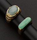 Estate Jewelry:Rings, Two Charming Jade & Gold Rings. ... (Total: 2 Items)