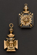 Estate Jewelry:Other , Two Gold Double Panel Masonic Fobs. ... (Total: 2 Items)