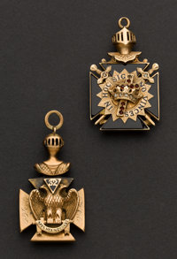 Two Gold Double Panel Masonic Fobs