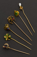 Estate Jewelry:Stick Pins and Hat Pins, Six Early Gold Stick Pins. ... (Total: 6 Items)