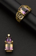Estate Jewelry:Other , Collection of Amethyst Gold Pendant & Ring. ... (Total: 2 Items)