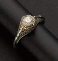 Estate Jewelry:Rings, Exceptional 18k Gold & Diamond Filigree Ring. ...