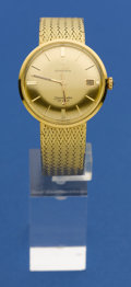Timepieces:Wristwatch, Omega 18k Seamaster With 18k Band. ...