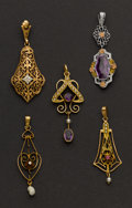 Estate Jewelry:Pendants and Lockets, Five Early Gold Drops. ... (Total: 5 Items)