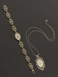 Estate Jewelry:Other , Early Crystal & Gold Necklace & Bracelet. ...