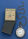 Timepieces:Pocket (post 1900), Hamilton 21 Jewel 992 With Box & Chain. ...