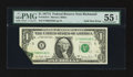 Error Notes:Foldovers, Fr. 1910-E $1 1977A Federal Reserve Note. PMG About Uncirculated 55EPQ.. ...