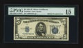 Error Notes:Shifted Third Printing, Fr. 1654* $5 1934D Wide 1 Silver Certificate. PMG Choice Fine 15.. ...