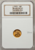 Commemorative Gold: , 1903 G$1 Louisiana Purchase/McKinley MS63 NGC. NGC Census:(268/1351). PCGS Population (545/1887). Mintage: 17,500. Numisme...