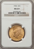 Indian Eagles: , 1926 $10 MS63+ NGC. NGC Census: (11485/4670). PCGS Population(9780/3353). Mintage: 1,014,000. Numismedia Wsl. Price for pr...