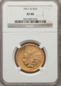 Indian Eagles: , 1911-D $10 XF40 NGC. NGC Census: (17/750). PCGS Population(33/570). Mintage: 30,100. Numismedia Wsl. Price for problem fre...