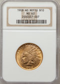 Indian Eagles: , 1908 $10 No Motto MS60 NGC. NGC Census: (30/456). PCGS Population(52/466). Mintage: 33,500. Numismedia Wsl. Price for prob...