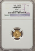 Gold Dollars: , 1850-O G$1 -- Bent -- NGC Details. AU. NGC Census: (6/170). PCGSPopulation (19/49). Mintage: 14,000. Numismedia Wsl. Price...