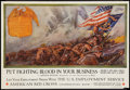 "Movie Posters:War, War Propaganda Poster (Department of Labor, 1918). World War IPoster (19"" X 28"") ""Put Fighting Blood in Your Business.""..."