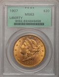 Liberty Double Eagles: , 1907 $20 MS63 PCGS. PCGS Population (4175/823). NGC Census:(6383/669). Mintage: 1,451,864. Numismedia Wsl. Price for probl...