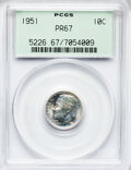 Proof Roosevelt Dimes: , 1951 10C PR67 PCGS. PCGS Population (351/37). NGC Census:(321/136). Mintage: 57,500. Numismedia Wsl. Price for problemfre...