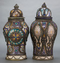 Ceramics & Porcelain, Continental:Modern  (1900 1949)  , A PAIR OF COVERED MOROCCAN EARTHENWARE VASES WITH SILVERED METAL MOUNTS . 20th century . 21-1/4 inches high (54.0 cm) . ... (Total: 2 Items)
