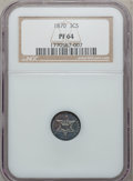 Proof Three Cent Silver, 1870 3CS PR64 NGC....