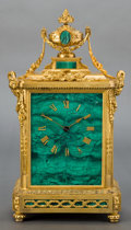 Timepieces:Clocks, A FRENCH MALACHITE AND GILT BRONZE JAPY FRERES MANTLE CLOCK . Late19th century . Marks to face: JAPY FRERES ET CIE MED. ...(Total: 2 Items)