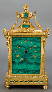 A FRENCH MALACHITE AND GILT BRONZE JAPY FRERES MANTLE CLOCK Late 19th century Marks to face: JAPY FRERES E