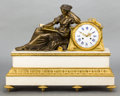 Timepieces:Clocks, A BALTHAZARD NEOCLASSICAL BRONZE AND MARBLE FIGURAL CLOCK . 20thcentury . Marks to face: BALTHAZARD, A PARIS . 21-1/4 i...(Total: 2 Items)