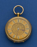 Timepieces:Pocket (pre 1900) , Swiss Key Wind 18k Gold Pocket Watch. ...