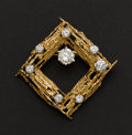 Estate Jewelry:Brooches - Pins, Terrific Diamond & Gold Pin Featuring A 1.90 ct. Brilliant Cut....