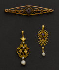 Estate Jewelry:Pendants and Lockets, Two Antique Gold Drops & One Amethyst Gold Pin. ... (Total: 3Items)