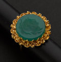 Estate Jewelry:Rings, Gold & Green Stone Intaglio Ring. ...