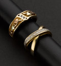 Estate Jewelry:Rings, Two Diamond & Gold Rings. ... (Total: 2 Items)
