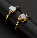 Estate Jewelry:Rings, Two Opal & Diamond Gold Rings. ... (Total: 2 Items)