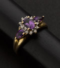 Estate Jewelry:Rings, Fine Amethyst & Diamond Gold Ring. ...