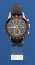 Timepieces:Wristwatch, Tag Heuer Carrera Automatic Steel Chronograph. ...