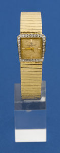 Timepieces:Wristwatch, Baume & Mercier Ladies Diamond Bezel Gold Bracelet Watch. ...
