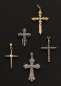 Estate Jewelry:Pendants and Lockets, Five Gold Crosses. ... (Total: 5 Items)