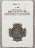 Proof Seated Quarters: , 1869 25C PR65 NGC. NGC Census: (14/11). PCGS Population (8/3).Mintage: 600. Numismedia Wsl. Price for problem free NGC/PCG...