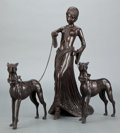 Sculpture, AN ART DECO STYLE PATINATED BRONZE FIGURAL GROUP: LADY WITH DOGS . Circa 1930. 17-5/8 inches high (44.8 cm)... (Total: 3 Items)