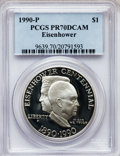 Modern Issues: , 1990-P $1 Eisenhower Silver Dollar PR70 Deep Cameo PCGS. PCGSPopulation (158). NGC Census: (82). Mintage: 1,144,461. Numis...
