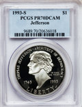 Modern Issues: , 1993-S $1 Jefferson Silver Dollar PR70 Deep Cameo PCGS. PCGSPopulation (70). NGC Census: (26). Mintage: 332,891. Numismedi...