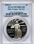 Modern Issues: , 1996-S $1 Community Service Silver Dollar PR70 Deep Cameo PCGS PCGSPopulation (150). NGC Census: (124). Mintage: 101,543. ...
