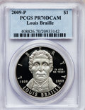 Modern Issues, 2009-P $1 Braille PR70 Deep Cameo PCGS. PCGS Population (111). NGCCensus: (560). The image displayed is a stock photo of...
