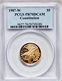1987-W G$5 Constitution Gold Five Dollar PR70 Deep Cameo PCGS. Ex: U.S. Vault Collection. PCGS Population (1861). NGC Ce...