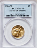 Modern Issues, 1986-W G$5 Statue of Liberty Gold Five Dollar MS70 PCGS. Ex: U.S.Vault Collection. PCGS Population (309). NGC Census: (202...