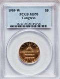 Modern Issues: , 1989-W G$5 Congress Gold Five Dollar MS70 PCGS. PCGS Population(237). NGC Census: (1093). Mintage: 46,899. Numismedia Wsl....