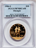 Modern Issues: , 1984-S G$10 Olympic Gold Ten Dollar PR70 Deep Cameo PCGS. PCGSPopulation (116). NGC Census: (0). Mintage: 48,551. Numismed...