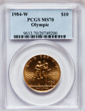 Modern Issues, 1984-W G$10 Olympic Gold Ten Dollar MS70 PCGS. Ex: U.S. VaultCollection. PCGS Population (118). NGC Census: (435). Mintag...