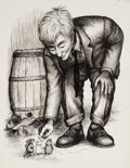 """Pulp, Pulp-like, Digests, and Paperback Art, GARTH WILLIAMS (American, 1912-1996). The Rescuers, """"Farewell,Dear Poet!"""", page 145 illustration, 1959. Pen on paper. 1..."""