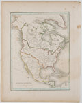 Books:Maps & Atlases, Engraved and Hand-Colored Map of North America with Texas as a Republic. [ca. 1840]. Measures 12.75 x 10.25 inches. Edge ton...