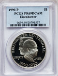 Modern Issues: , 1990-P $1 Eisenhower Silver Dollar PR69 Deep Cameo PCGS. PCGSPopulation (6145/188). NGC Census: (3614/97). Mintage: 1,144,...