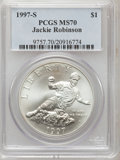 Modern Issues: , 1997-S $1 Jackie Robinson Silver Dollar MS70 PCGS. PCGS Population(56). NGC Census: (115). Mintage: 30,007. Numismedia Wsl...
